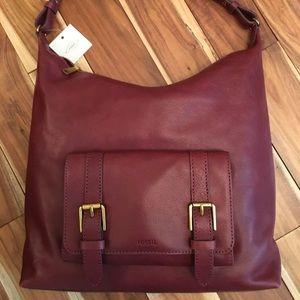 Fossil Wine Red Cleo Hobo Bag NWT!